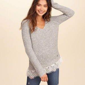 Hollister Grey Lace Trim Knit Pullover Sweater